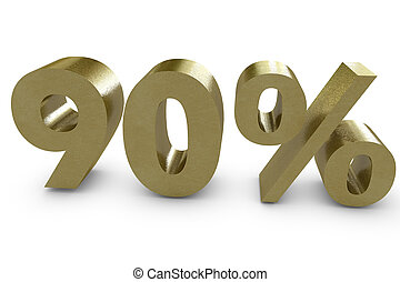 Ninety percent in 3d - gold color