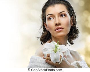 flower girl - beauty flower girl on the blurry background