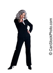Businesswoman pointing with finger - Businesswoman in her...