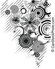 Black and white circles background - Vector black and white...