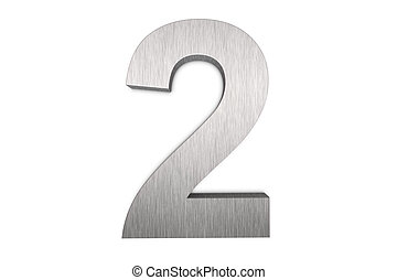 Number 2 - Brushed metal number 2 on white background