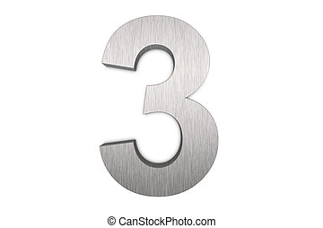 Number 3 - Brushed metal number 3 on white background