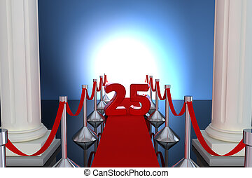 25 year anniversary with red carpet and columns
