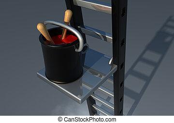 Painter equipment - Black bucket with ladder an sunlight...