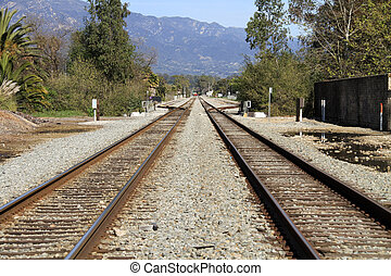 Railroad tracks disappear into the distance in Santa...