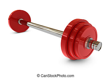 Red barbell weight on white background in 3d