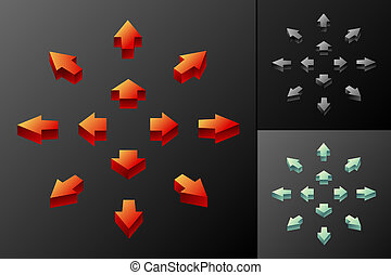 3D arrows - 3D colored arrows for web etc...