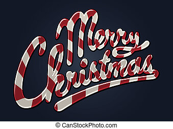 Merry christmas candy cane - Illustrated merry christmas...