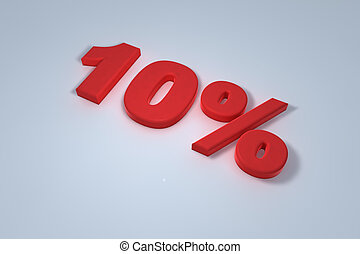 Ten percent - 3d ten percent written in red
