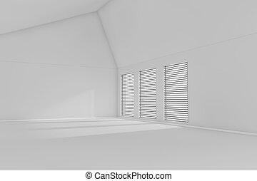 3d rendered empty room - Rendered 3d empty room