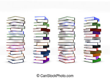 Stack books on white background in 3d