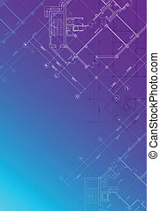 Blueprint background vertical - Vector Blue architectural...