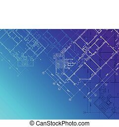 Blueprint architectural background - Vector Blue...