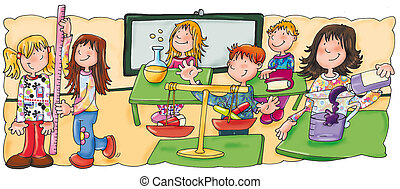 class, classroom, children are measured, meters, scales,...
