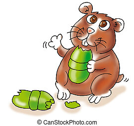 hamster gnawing at the power strip