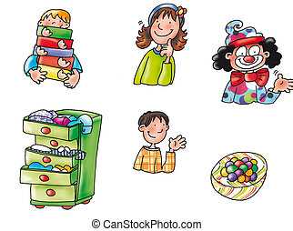 clown, a dresser, baby, baby parcels with
