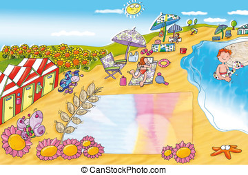 organized beach, changing rooms, childrens play