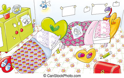 baby room - childrens room, toys, two chairs, a radio,...