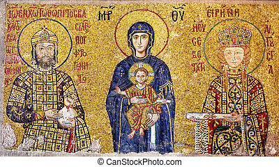 Byzantine mosaic - Virgin Mary holding the Christ Child