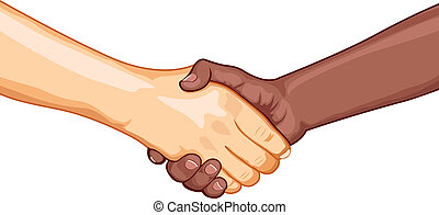 Business Handshake - illustration of black and white male...