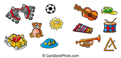items - Roller, Jep, bear, ball, guitar, sun hat, xylophone,...