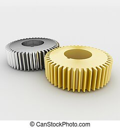 gear - a three 3d maded cog wheel on a grey background