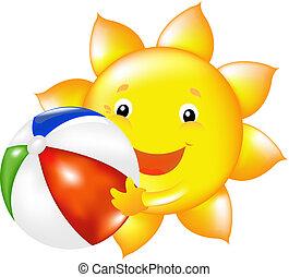 Sun With Beach Ball - Happy Sun With Beach Ball, Vector...