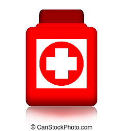 Jar of pills with medical cross isolated over white...