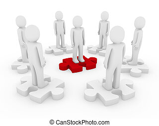 3d men puzzle circle red teamwork success