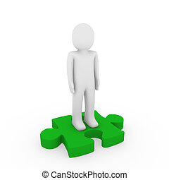 3d human puzzle green business white success teamwork