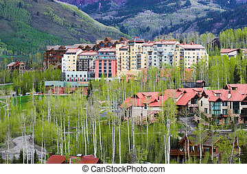 Colorful hotel buildings - Multi story skiing hotels...