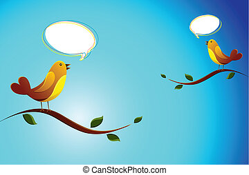 Birds Chating - illustration of love birds sitting on tree...
