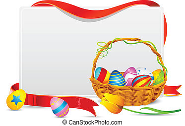 Easter Card - illustration of basket full of colorful...