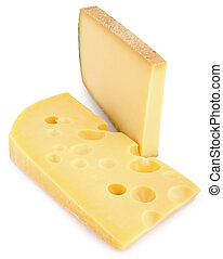 isolated cheese - slice of variety of cheese on white...