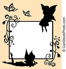 fairies silhouette - frame with silhouettes of fairies,...