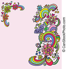 floral banners - hand drawn floral  banners