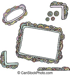 doodle rainbow frames - collection of doodle frames and...
