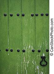 old wooden door - old green wooden door
