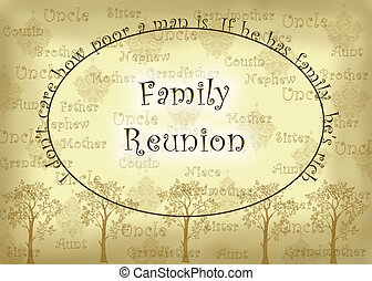 Family Reunion - vintage look graphic with an aged paper...