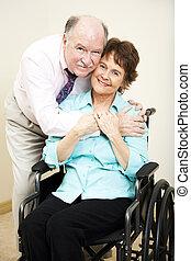 Handicapé, femme, aimer, mari
