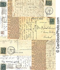 Collaged old papers - postcards, writings, grunge old papers...