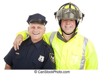 Blue Collar Heroes Isolated - Policeman and firefighter...