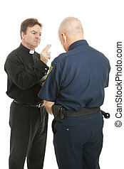 Priest Blesses Policeman - Policeman receives a blessing...
