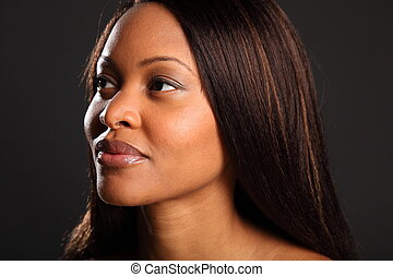 Stunning beautiful black woman - Landscape style headshot of...