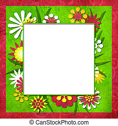 Summer funny floral cutout frame for photo or text