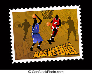 Postal basketball stamp, vector illustration