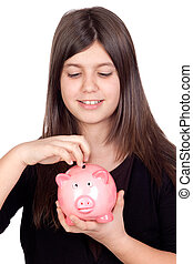 Adorable preteen girl with money box - Adorable preteen girl...