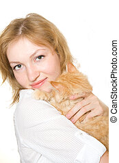 woman cat smile happy young