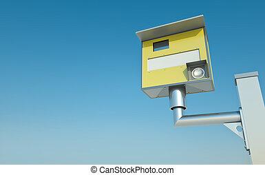 Speed camera - Traffic speed camera against blue sky 3D...
