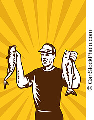 Fly Fisherman bass fish catch - illustration of a Fly...